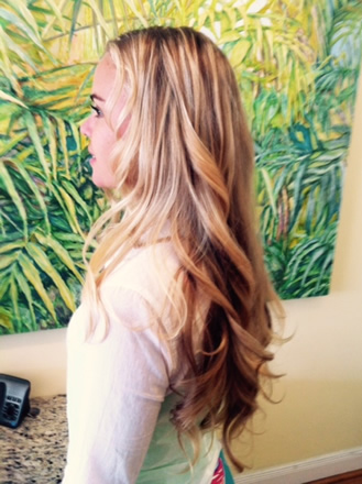 Long curls and hair extensions
