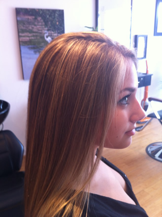 Highlights on long hair